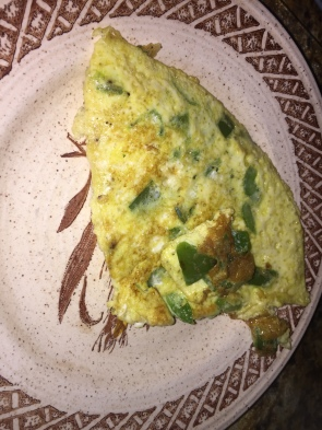 Pepper and spinach omelette.