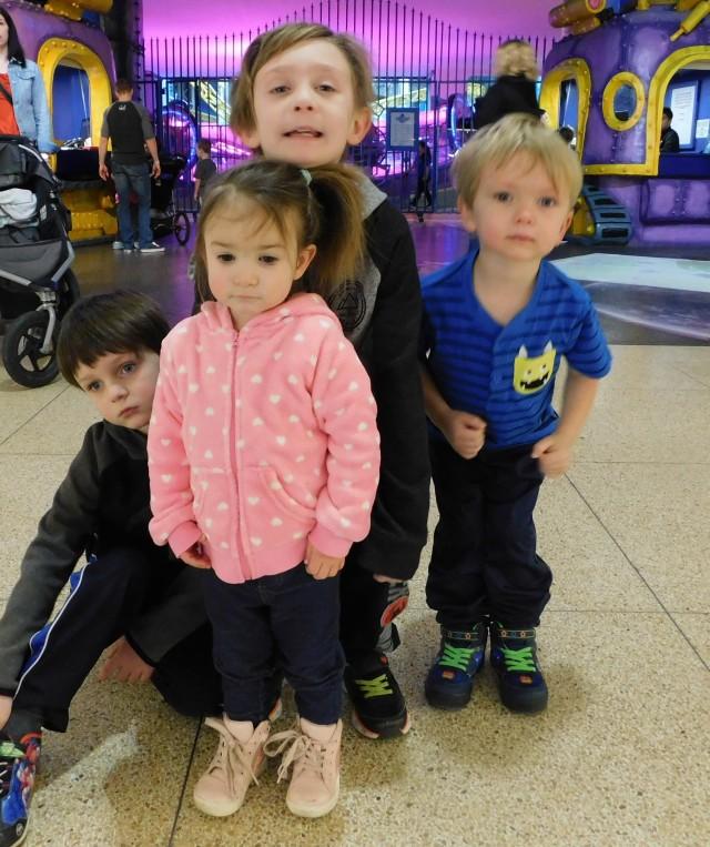 Dobbin kids at Galaxyland, West Edmonton Mall.